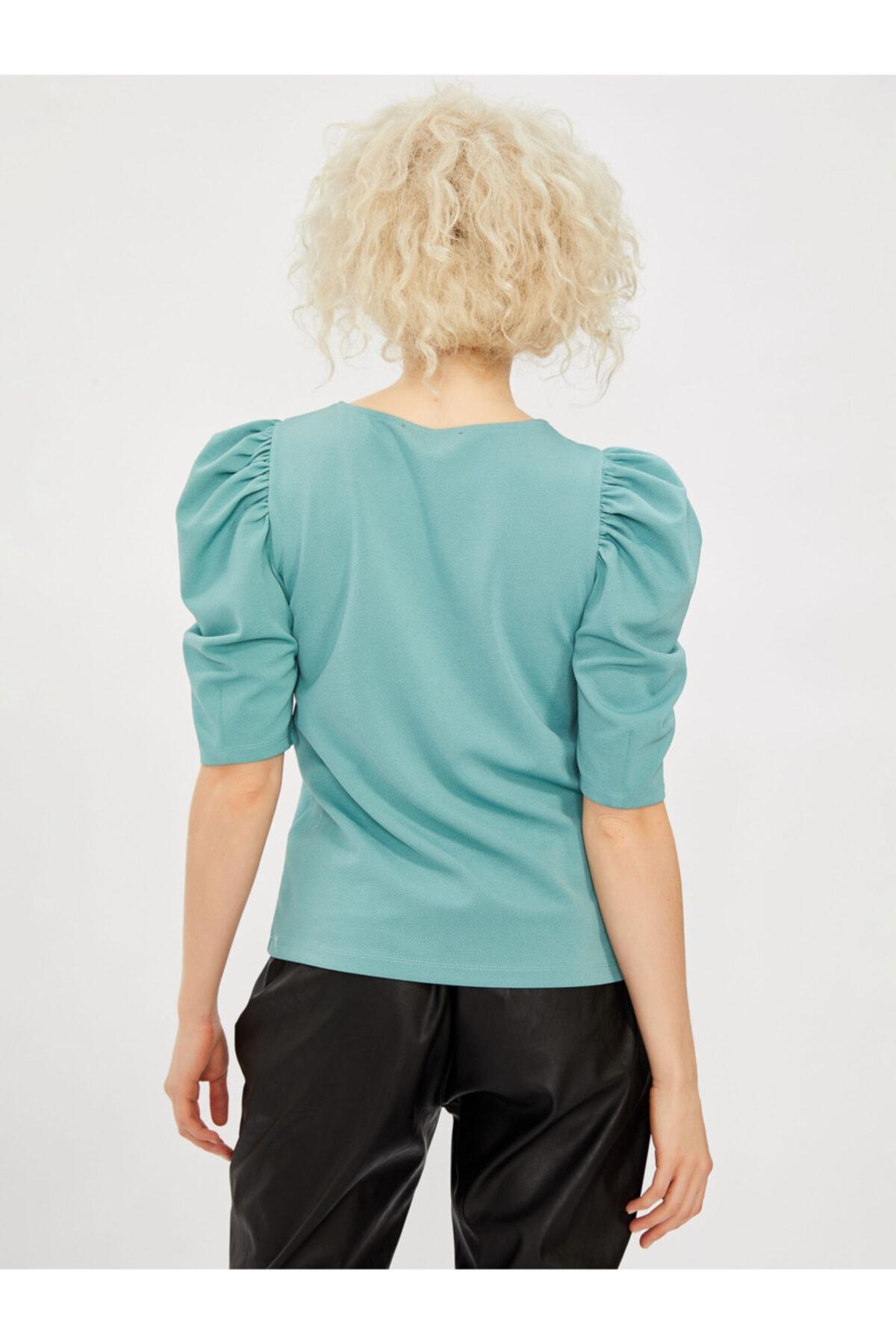 Vekem Kısa Kol Kol Büzgülü Kadın Bluz 2