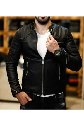 NorthStyle Erkek Deri Mont Ceket Omuz Çizgili Model 2020 New Season