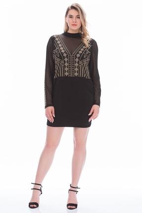 Şans Kadın Siyah Taş İşli Sırt Dekolteli Elbise
