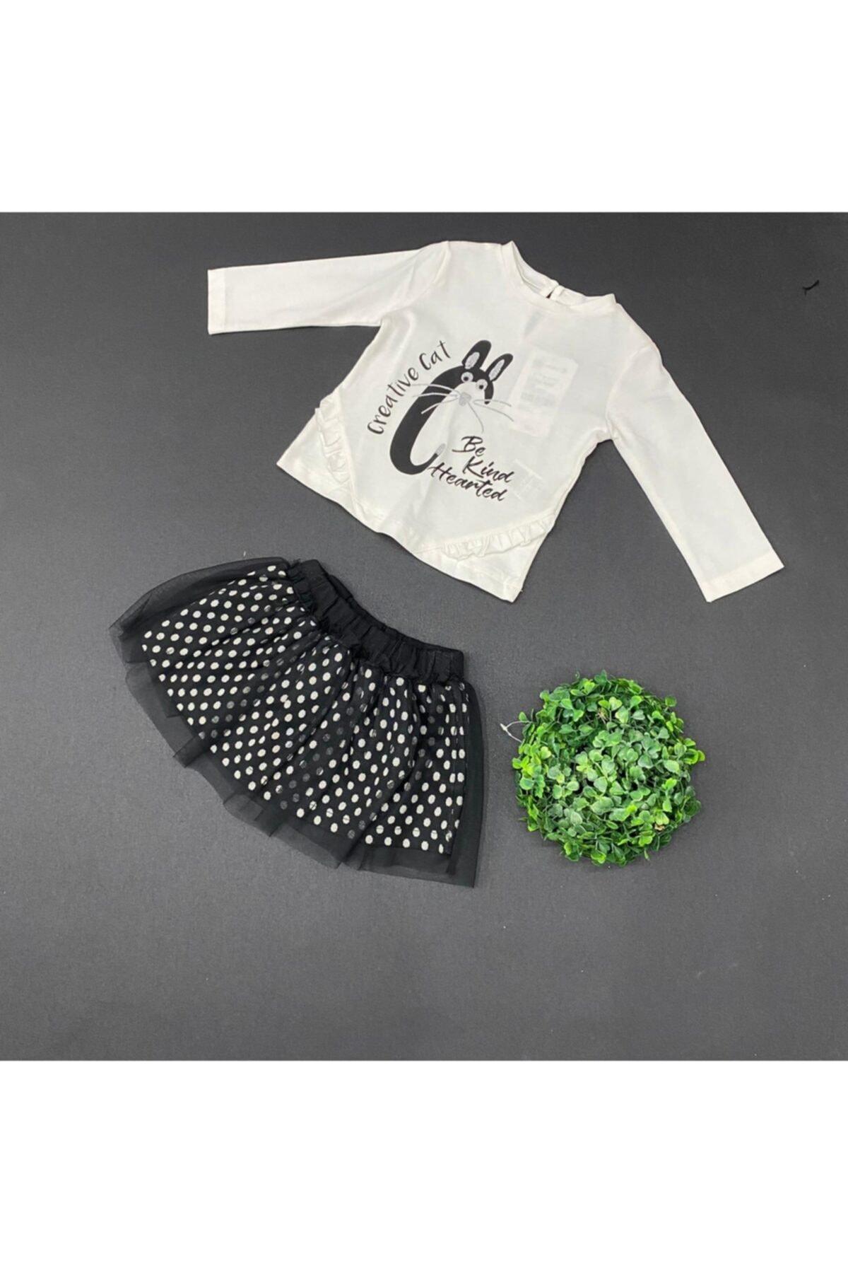 Çikoby Kız Bebek Siyah Beyaz Etek Takım 1