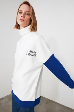 TRENDYOLMİLLA Çok Renkli Dik Yaka Örme Sweatshirt TWOAW21SW1055