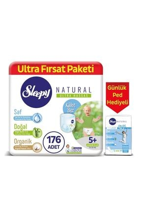 Sleepy Natural Külot Bez 5+ Numara Junior Plus 176 Adet + Natural Günlük Ped Normal 40 Adet