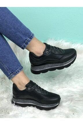 None Kadın Siyah Dolgu Taban Ortapedik Sneaker Ayakkabı