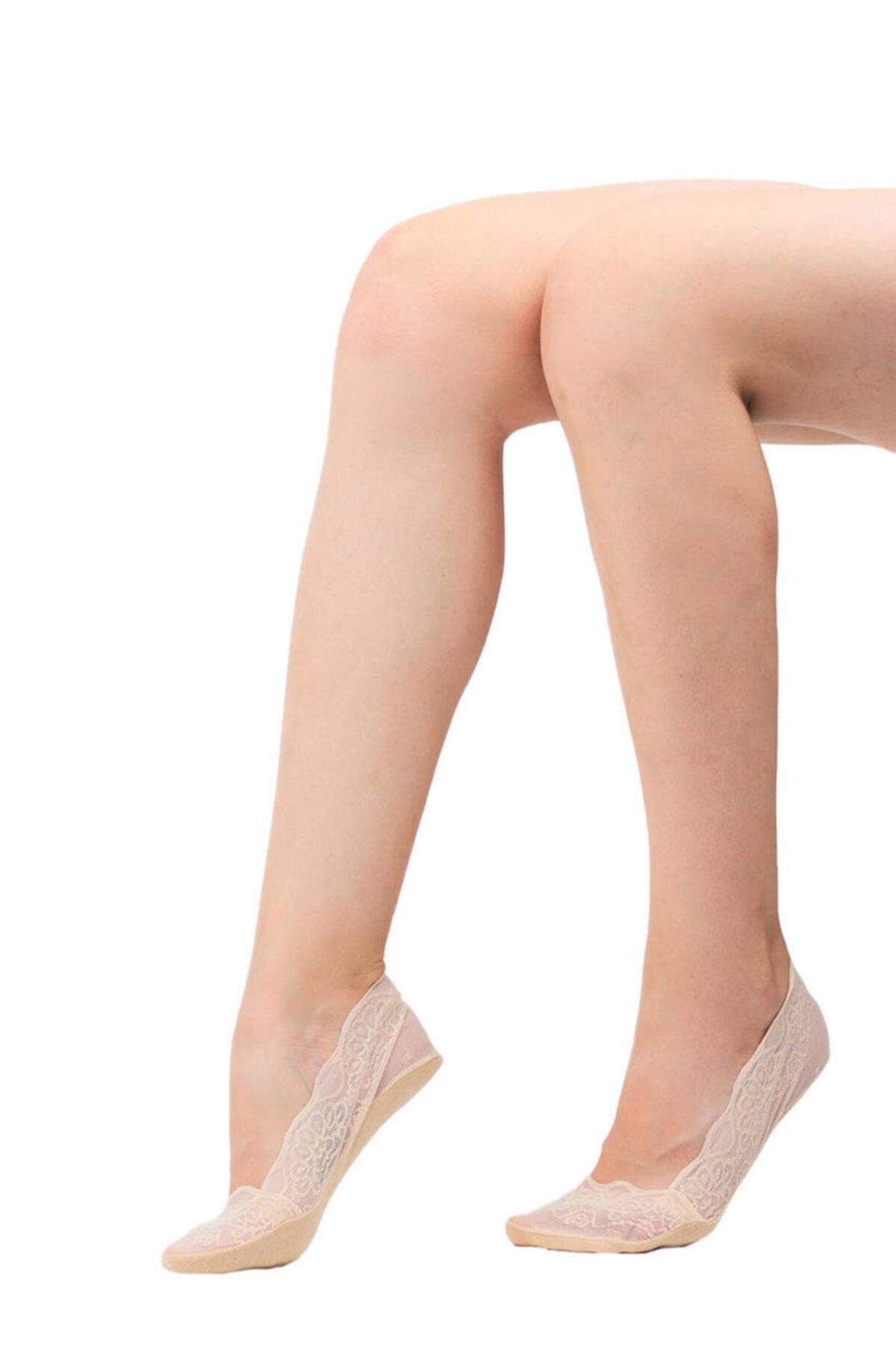 Penti Kadın Ten Rengi Güpür Babet Çorap 1