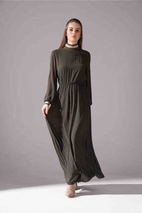 Mizalle Kadın Haki Balıkçı Yaka Şifon Elbise