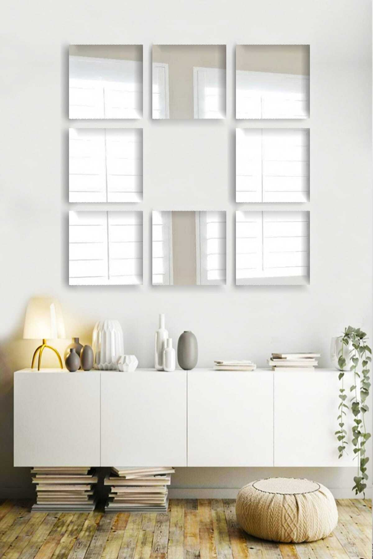 bluecape 8 Parça 20x20cm Antre Hol Koridor Duvar Salon Mutfak Banyo Wc Ofis Çocuk Yatak Odası Set Ayna 2