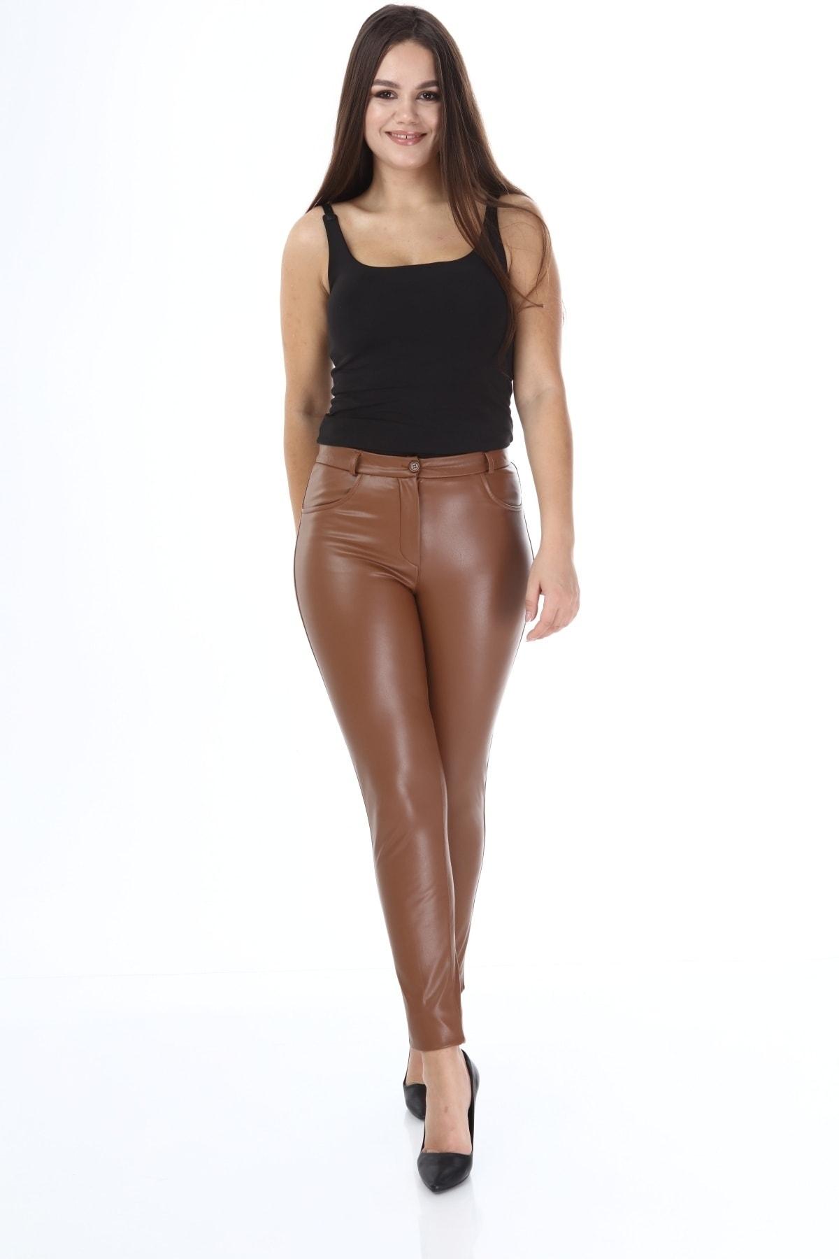 Beril Etek Kadın Camel Deri Pantolon 2