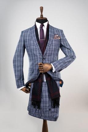 Sarar Erkek Lacivert Ekoseli Takım Elbise
