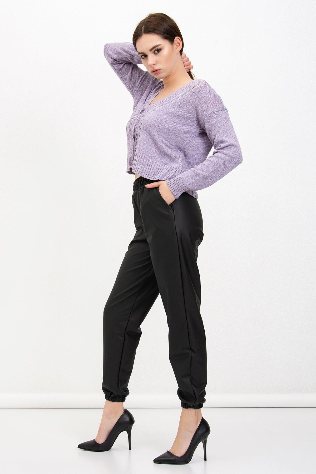Mossta Kadın Bel Lastikli Şardonlu Deri Pantolon 1