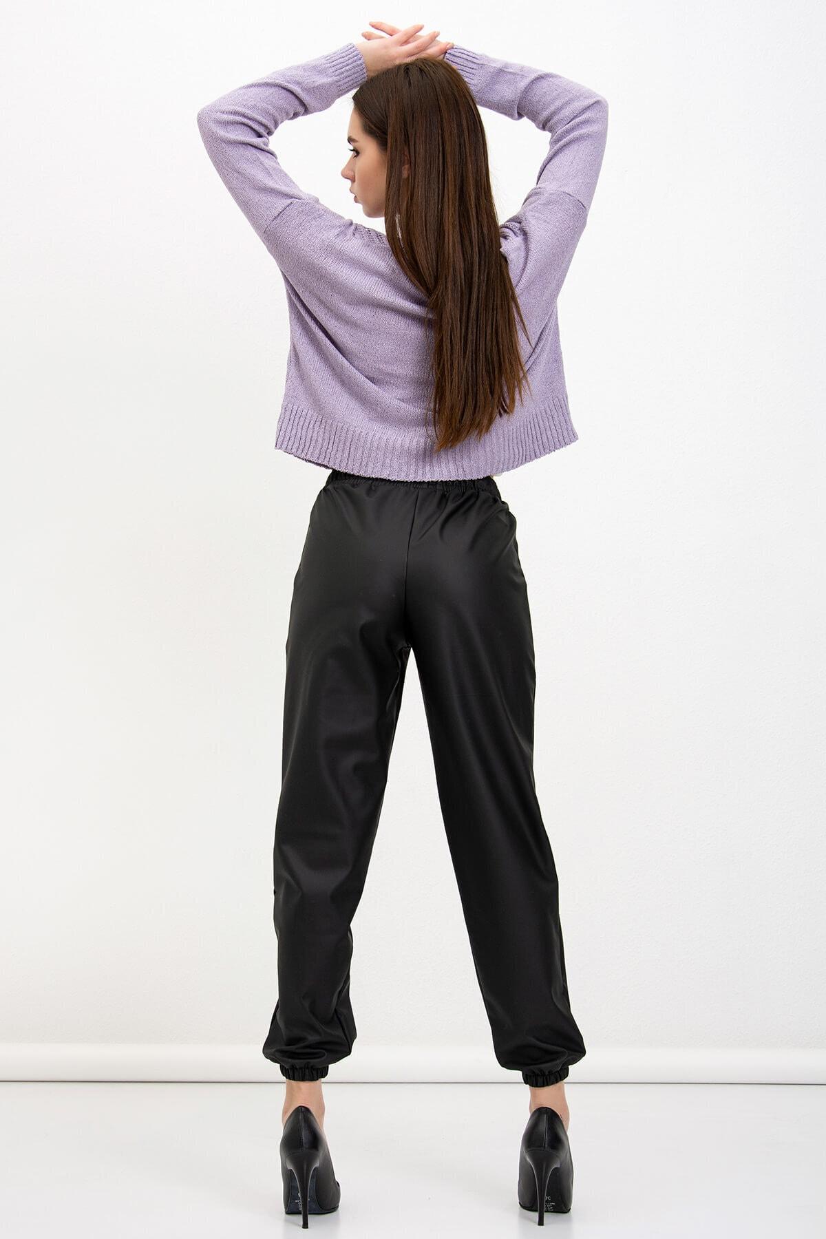 Mossta Kadın Bel Lastikli Şardonlu Deri Pantolon 2