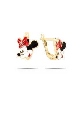 Trend Silver Kız Çocuk Altın Yaldızlı Mickey Mouse Gümüş Küpe