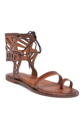 Tergan Kadın Taba Deri Sandalet 64537a58
