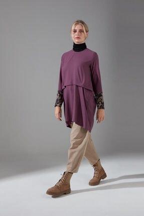 Mizalle Kadın Mor  Kolları Puantiyeli Bluz