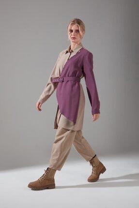 Mizalle Kadın Mor Parçalı Krep Tunik Gömlek