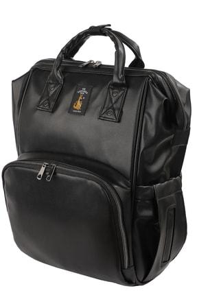 The Kangaroo Bag Luxury Anne Bebek Bakım Sırt Çantası Luxury Siyah Deri