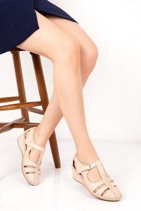 Gondol Kadın Bej Deri Ortopedik Taban Sandalet
