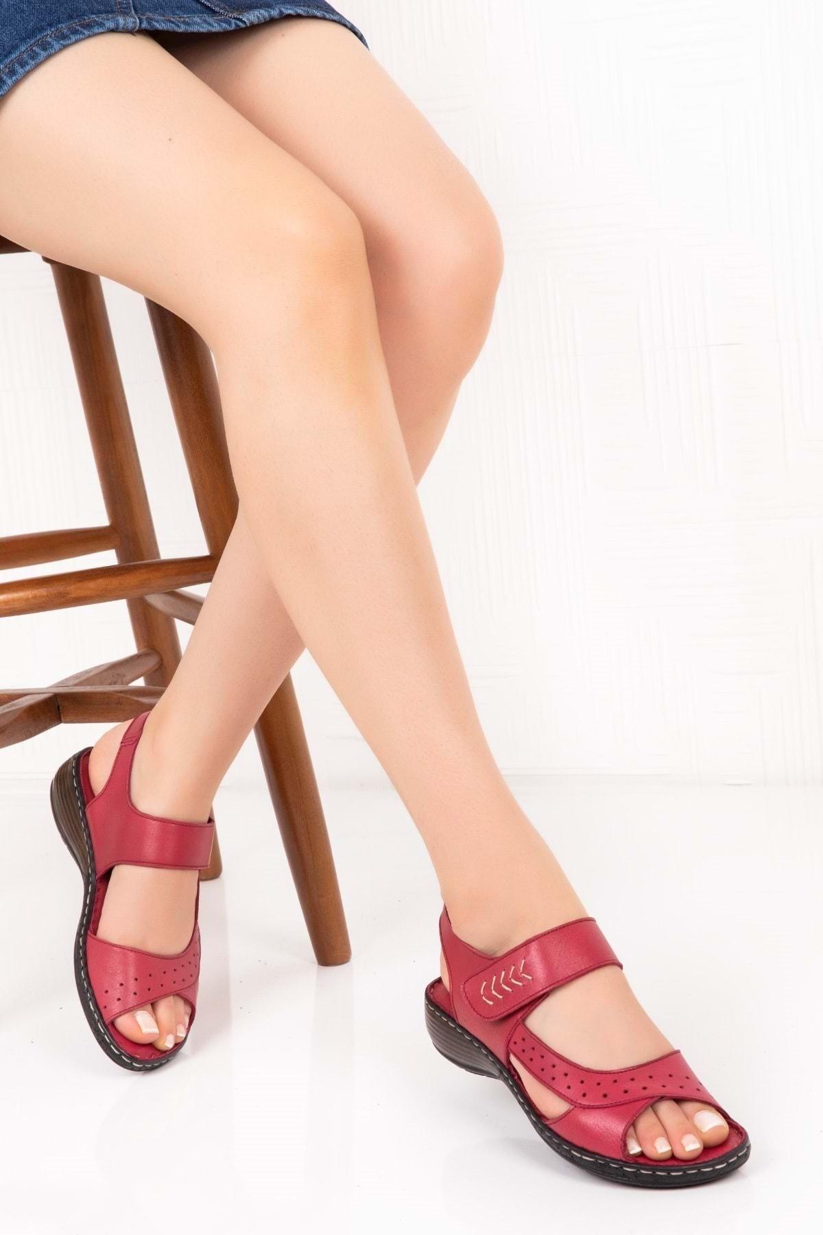 Gondol Kadın Bordo  Deri Ortopedik Taban Sandalet 1