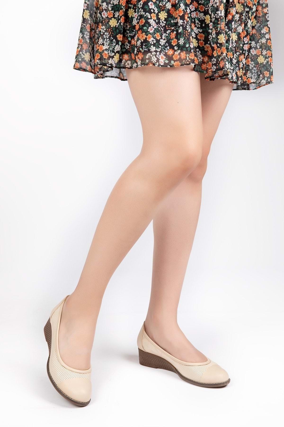 Gondol Kadın Bej  Deri Anatomik Taban Günlük Ayakkabı 1