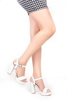 Gondol Kadın Beyaz  Deri Platform Topuk Ayakkabı