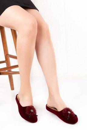 Gondol Kadın Bordo Anatomik Taban Kadife Ev Terliği