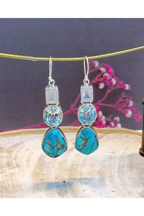 eysell jewellery Arızona Turkuaz & Aytaşı & Blue Topaz 925 Ayar Gümüş Özel Tasarım Küpe