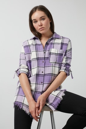 Lela Ekoseli Cepli Oduncu Gömlek Kadın Gömlek 59120467cız