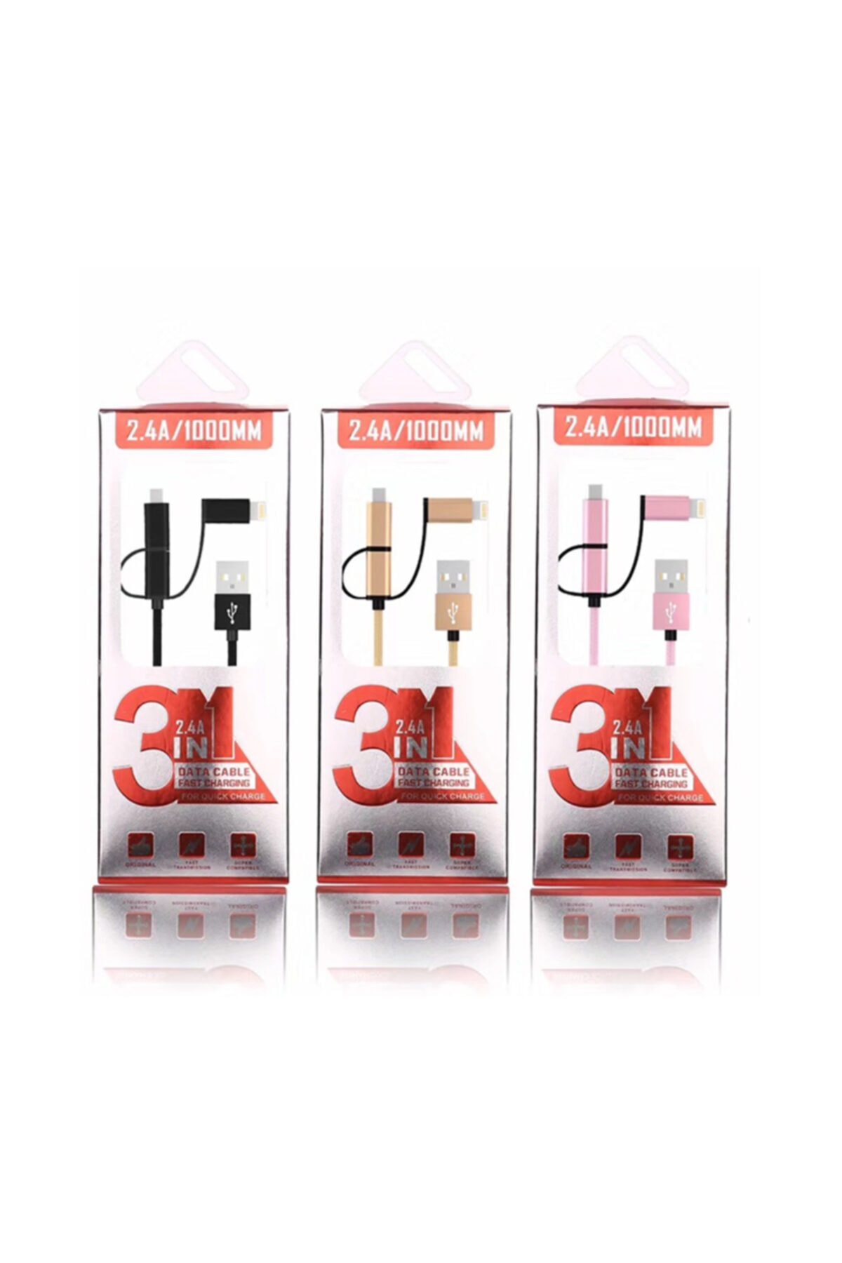 Ally Mobile Ally 3in1 2.4a Type-c Micro Usb Iphone 5,6,7,8 Halat Usb Kablo 1