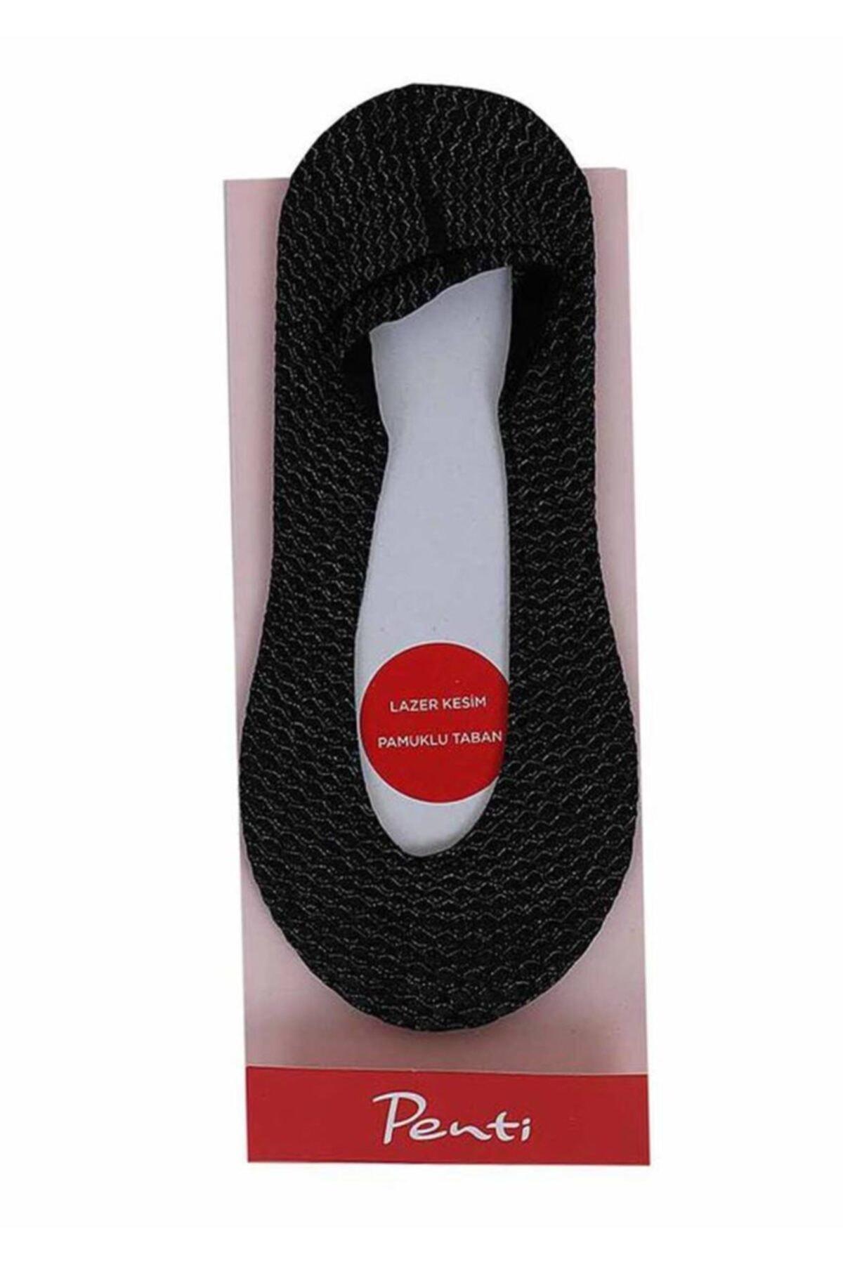 Penti Kadın Siyah Zikzak Desenli Babet Çorap 052 1
