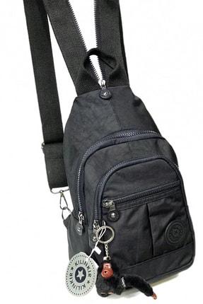 Klinkır Kadın Astarlı Çok Bölmeli Sırt Omuz Bady Bag Çanta Hafif Paraşüt Krinkıl Kumaş Siyah 1-22