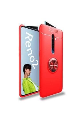 Oppo Reno 2z Yüzüklü Standlı Silikon Kılıf Kırmızı