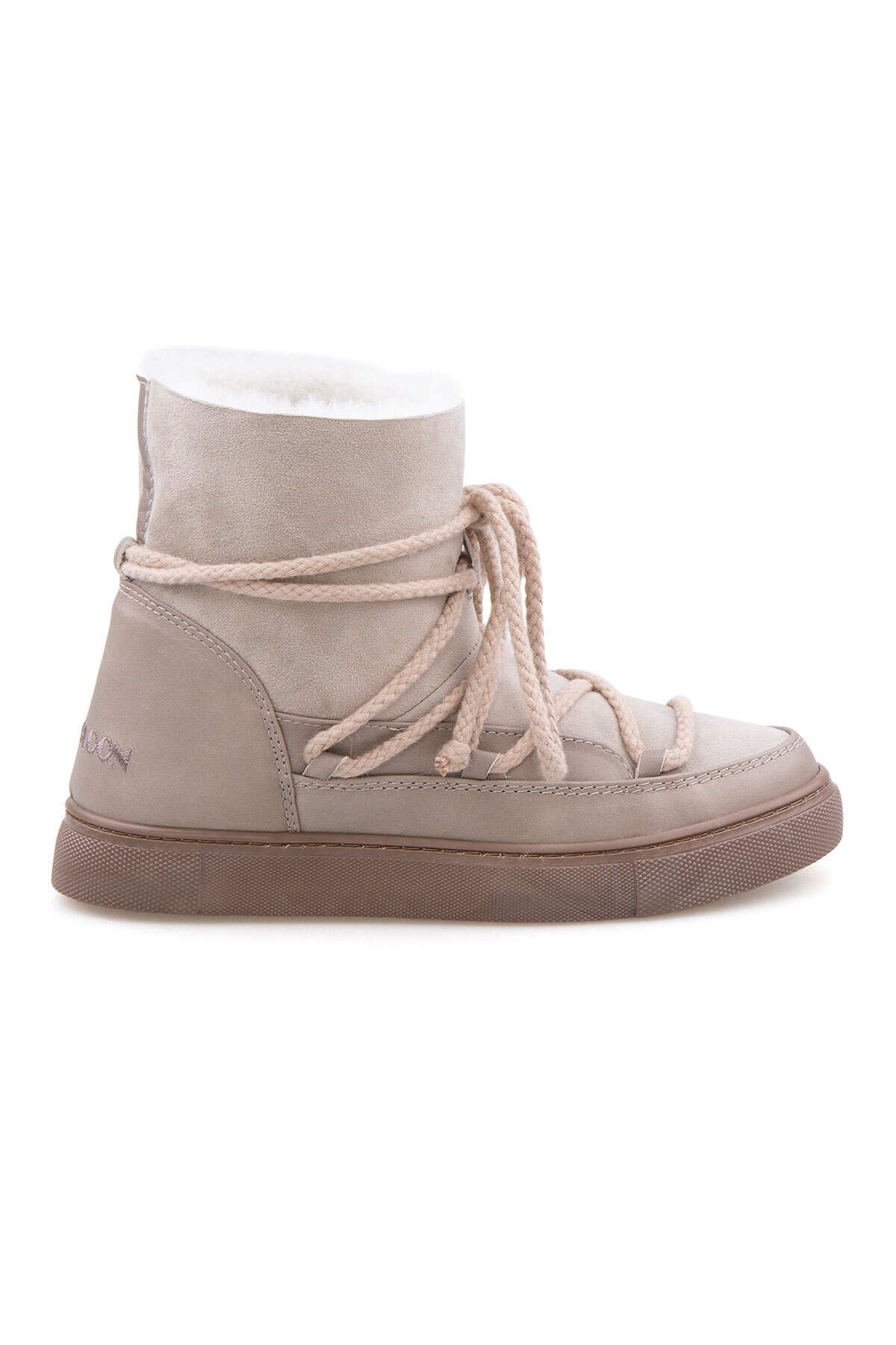 Cool Moon Kadın Bej  Süet İçi Kürk Sneaker 355050