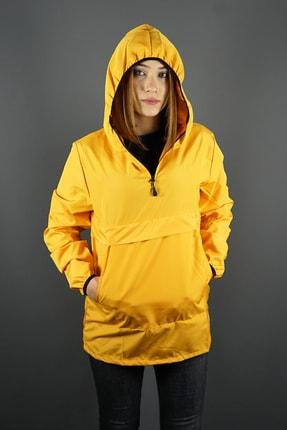 aksesuargo Kadın Sarı Kapüşonlu Yağmurluk Mevsimlik Mont
