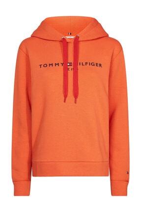 Tommy Hilfiger Kadın Kırmızı Sweatshirt Th Ess Hılfıger Hoodıe Ls WW0WW26410
