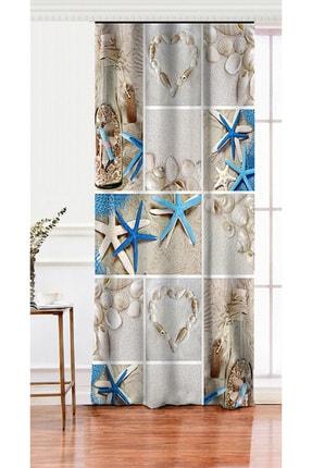 Realhomes Tek Kanat Deniz Yıldızı Dijital Baskılı Dekoratif Salon Fon Perdesi