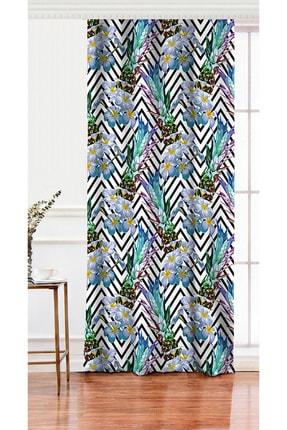 Realhomes Tek Kanat Zigzag Zeminli Yaz Egzotiği Özel Tasarımlı Salon Fon Perdesi