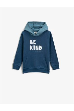 Koton Erkek Çocuk Lacivert Baskılı Kapüşonlu Sweatshirt