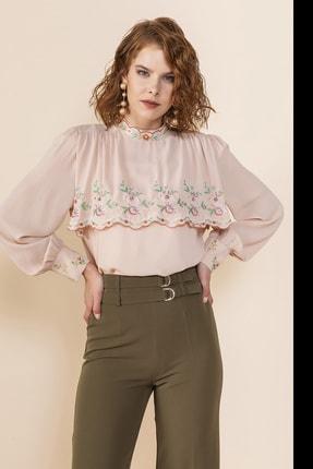 SERPİL Kadın Bej Nakış Işlemeli Bluz
