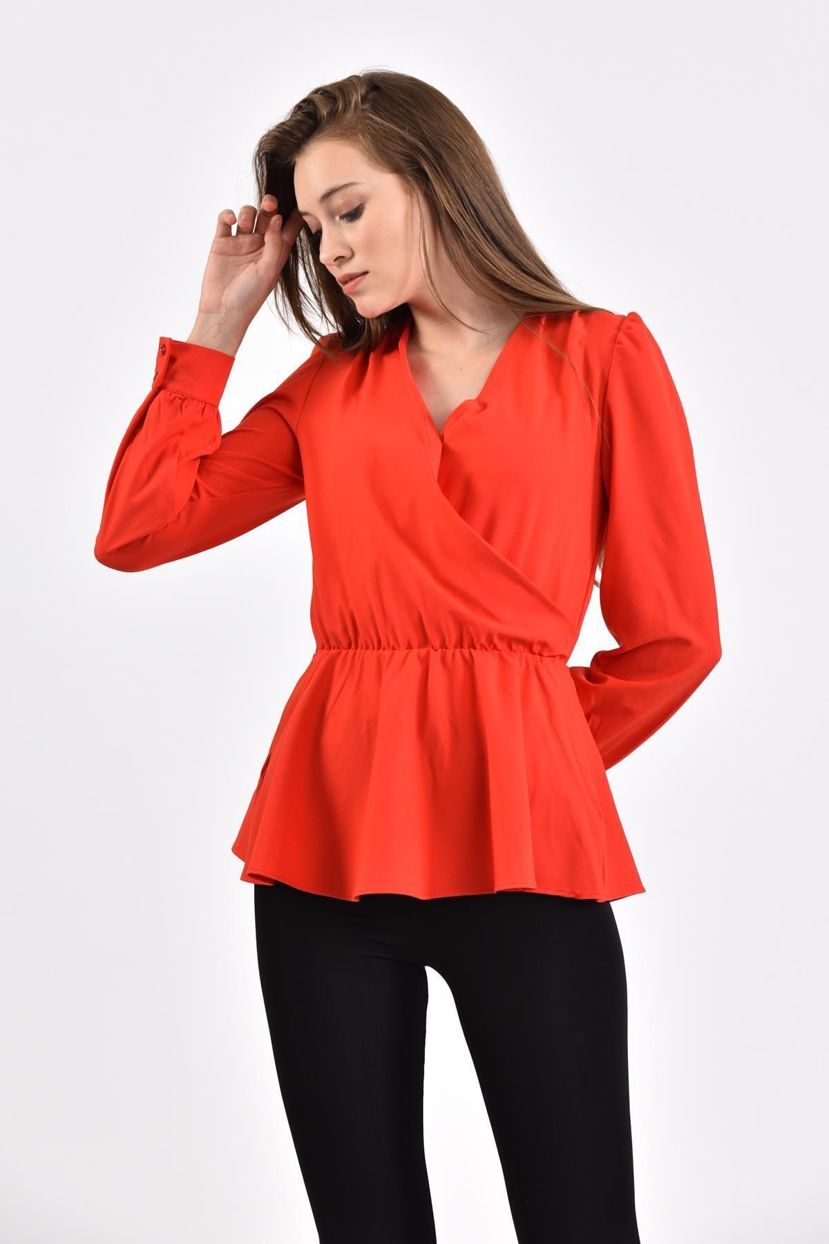 İroni Kadın Kırmızı Kruvaze Bluz 1