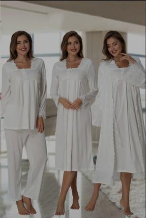 Effort Pijama Kadın Ekru Effortt Volan Dantelli Lohusa Hamile 4'lü Set 7016