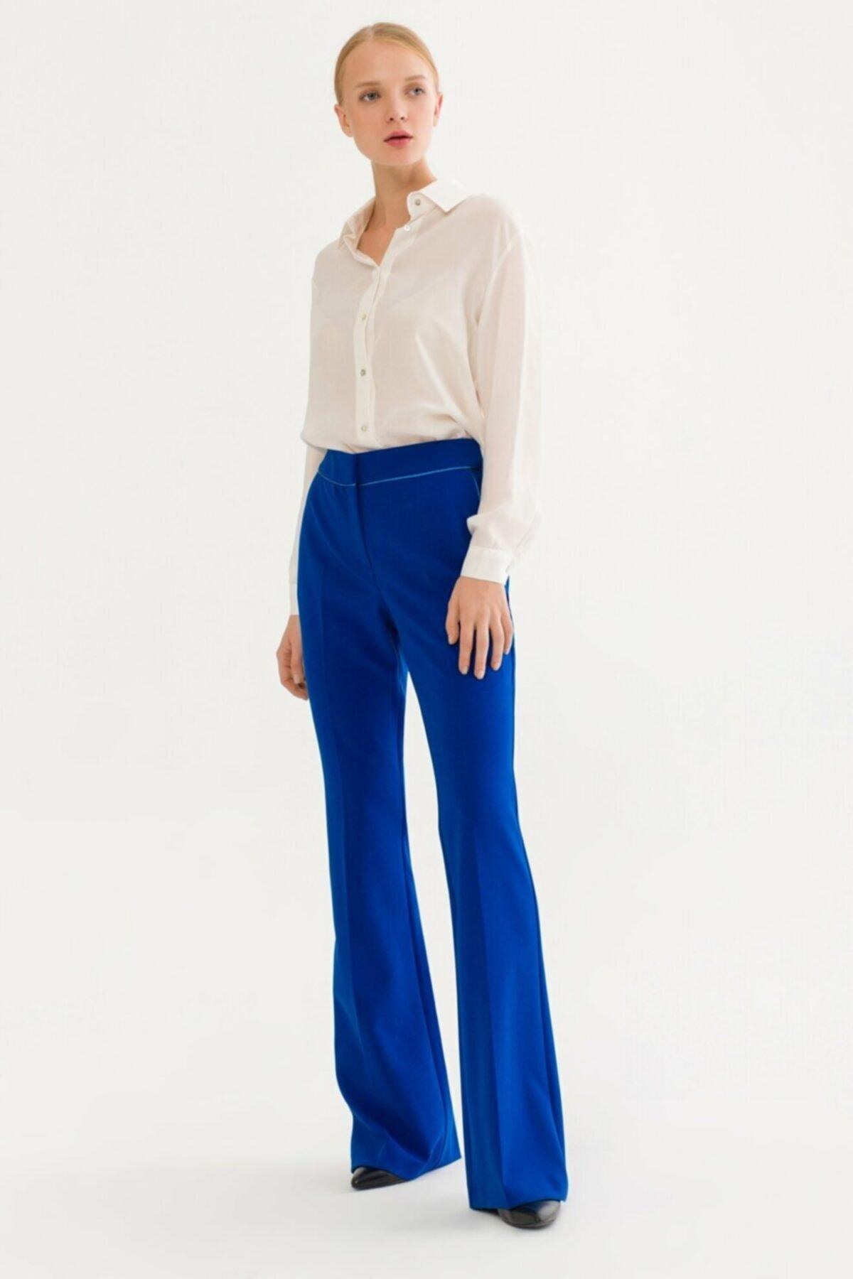adL Kadın Saks Biye Detaylı Pantolon 153C1579000022 1