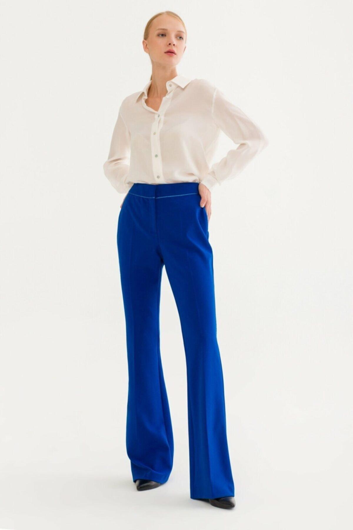 adL Kadın Saks Biye Detaylı Pantolon 153C1579000022 2