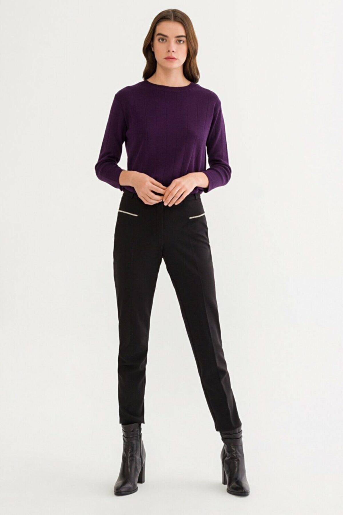 adL Kadın Siyah Cigarette Pantolon 15338069000001 2