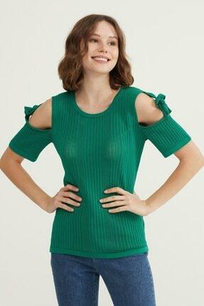 adL Kadın Yeşil Ajurlu Triko
