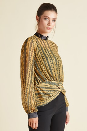 SERPİL Kadın Sarı Bel Detaylı Bluz