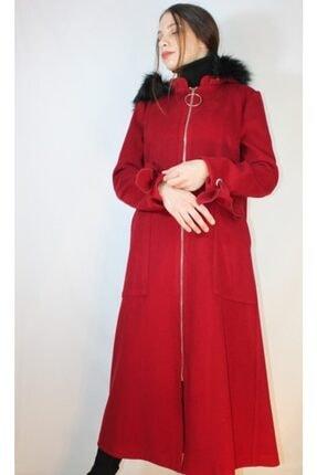 Loreen Kadın Kırmızı Kapüşonlu Kürklü Kaban