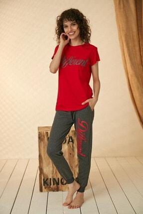 Morpile Kadın Kırmızı Baskılı Pijama Takım