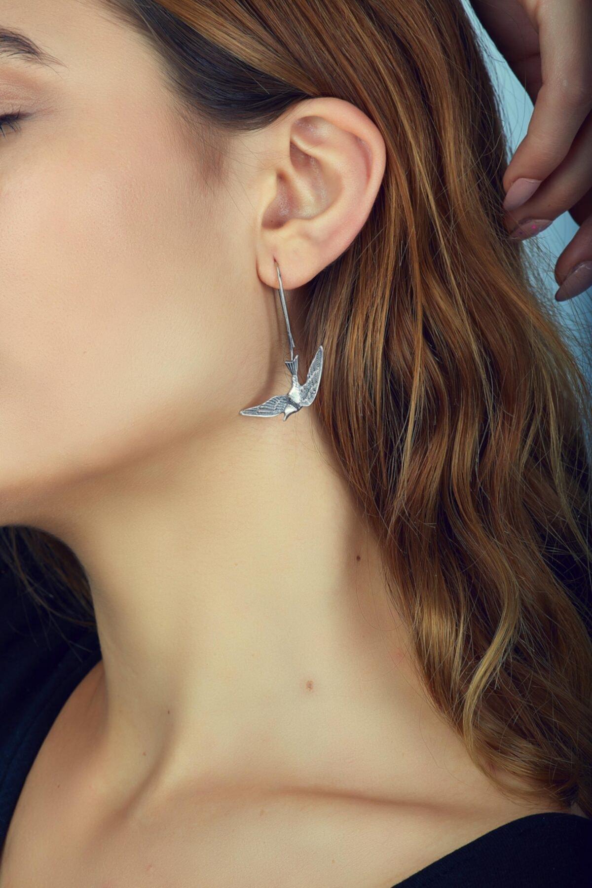 Sümer Telkari Kadın Güvercin Tasarım Elişi Gümüş Küpe 2602 2