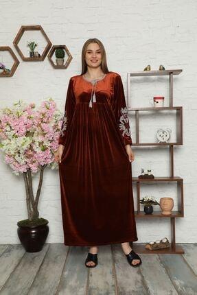 Laila Kadın Kiremit Kol Detaylı Nakışlı Püsküllü Uzun Kadife Elbise