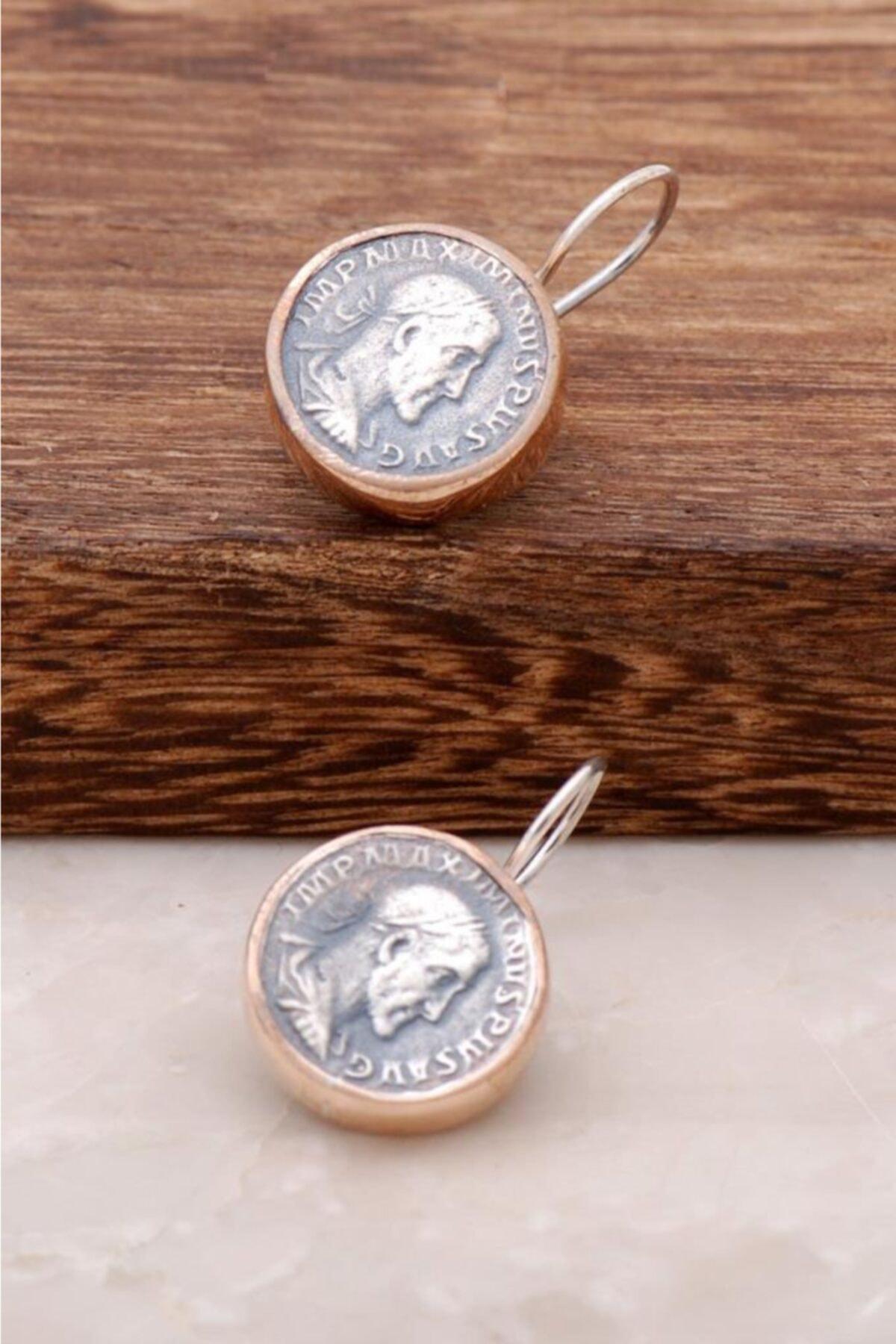 Sümer Telkari Kadın Antik Para Tasarımlı El İşi Gümüş Küpe 2599 1