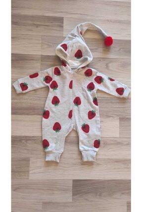 Murat Baby Kız Bebek Gri Çilekli Kapüşonlu Tulum